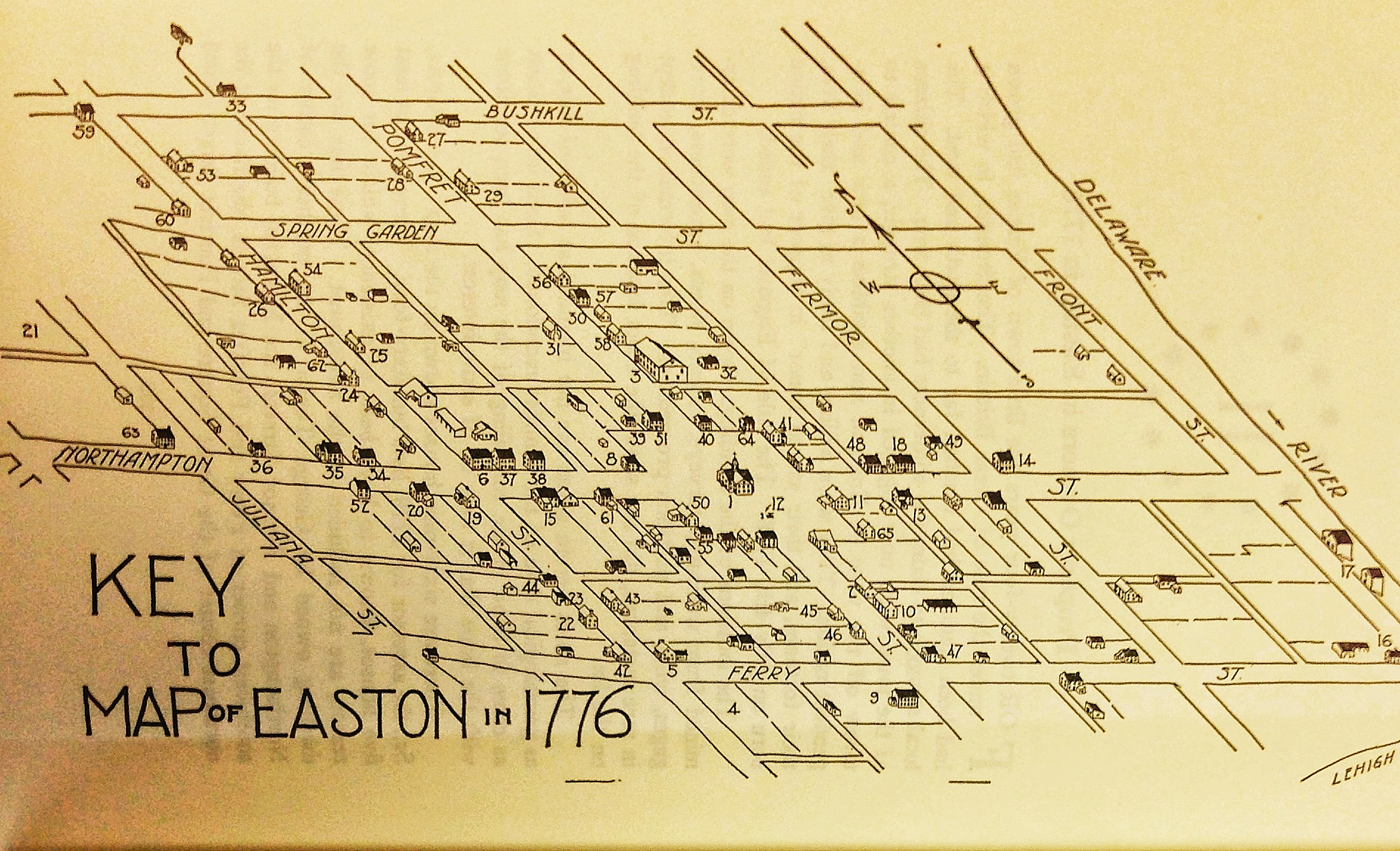 Map of Easton Pennsylvania in 1776