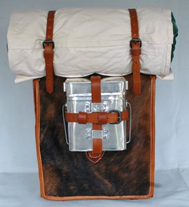 Reproduction sharpshooter knapsack by ACW Knapsacks, with tin and blanket not included (but available).
