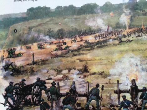 Illustration on page 42 of MacDonald's book, portraying Berdan's Sherpshooters at the Battle of Malvern Hill. Here they are picking off confederates as they attempt to charge the Federal guns on Malvern Hill.