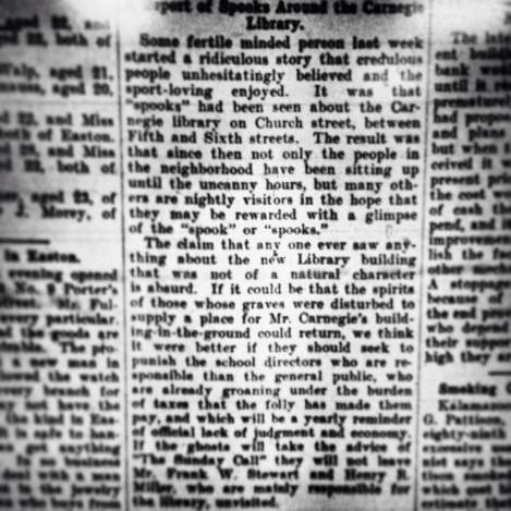 This is the article from the Easton Sentinel, dated July 21st, 1903 (mentioned above). Someone takes a skeptical view of the haunting.