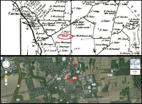 Upper map is from 1874, lower image is via Google Earth.