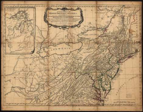 Map of Pennsylvania and surrounding states, 1776; London Printed for R. Sayer & J. Bennett.  Notice that the borders at the western end of the state of Pennsylvania and Virginia are left undefined.