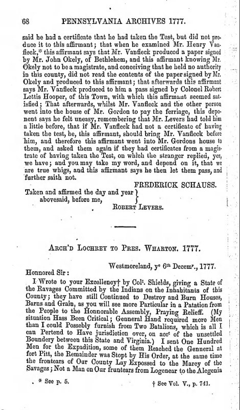 From PA Archives, Ser. 1, Vol. 6, Page 68, indicating the confusion of land disputes and the mustering of militia.