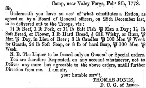 PA Archives Ser 1 Vol 6 Page 247 Valley Forge Rations