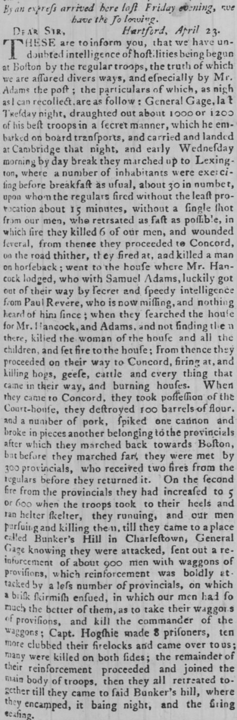 PA Gazette 1 May 1775