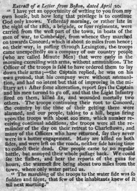 PA Gazette 26 April 1775